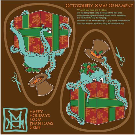 OctoSquidy Xmas Ornament fabric by phantomssiren on Spoonflower - custom fabric
