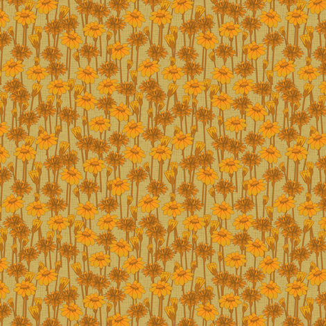 bachelor_buttons_and_daisies_goldenglow fabric by glimmericks on Spoonflower - custom fabric
