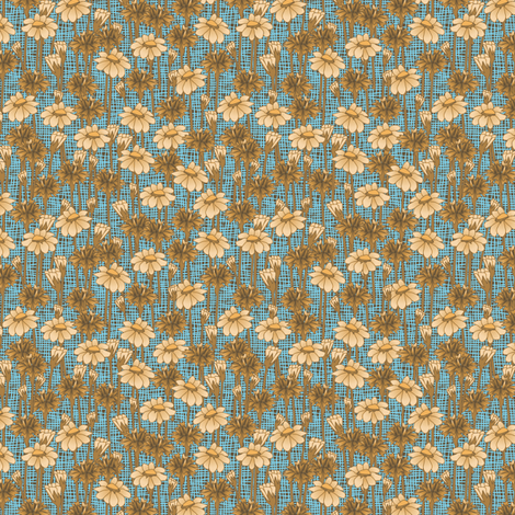 bachelor_buttons_and_daisies_bluetoast fabric by glimmericks on Spoonflower - custom fabric
