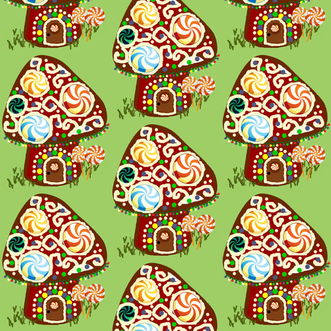 Gnomeland gingerbread house  fabric by paragonstudios on Spoonflower - custom fabric