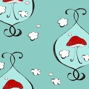 Red Mushroom and Clouds