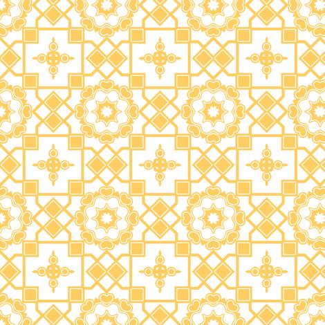 Sunshine Hearts in My Window - Daffodil Yellow on White fabric by rhondadesigns on Spoonflower - custom fabric