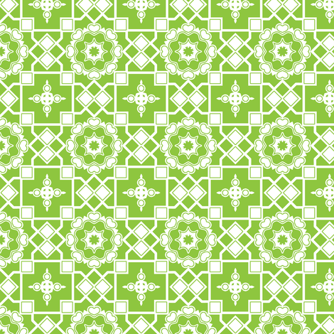 White Hearts In My Green Window.  fabric by rhondadesigns on Spoonflower - custom fabric