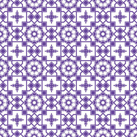Purple Hearts In My Window. fabric by rhondadesigns on Spoonflower - custom fabric
