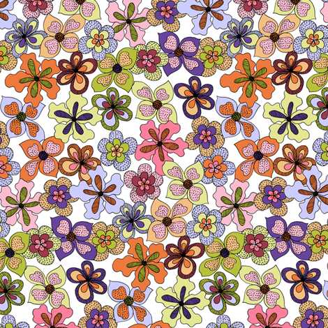Funky Fantasy Flowers - Warm Spring on White (Medium). fabric by rhondadesigns on Spoonflower - custom fabric