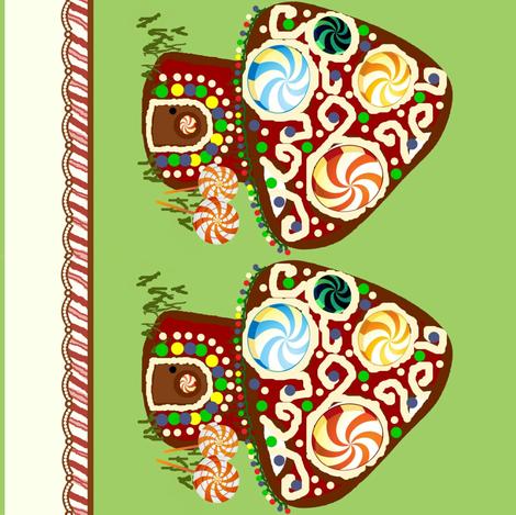 gingerbread shroomhouse border fabric by paragonstudios on Spoonflower - custom fabric