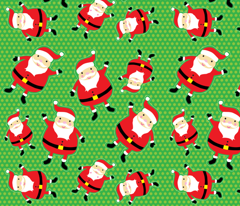 Green Jolly Santa fabric by tailorjane on Spoonflower - custom fabric