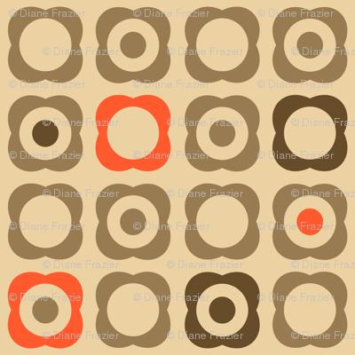 Mod Flowers & Dots (Tan, Brown, Orange)