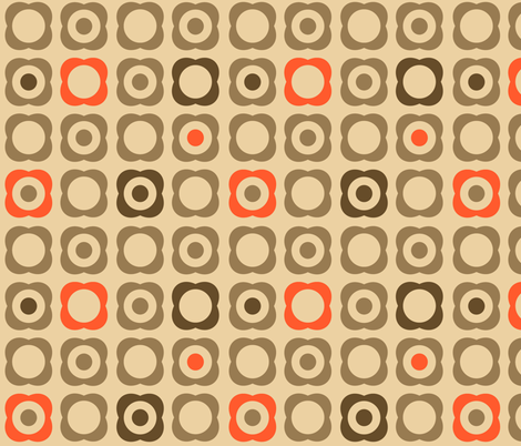 Mod Flowers & Dots (Tan, Brown, Orange) fabric by run_quiltgirl_run on Spoonflower - custom fabric