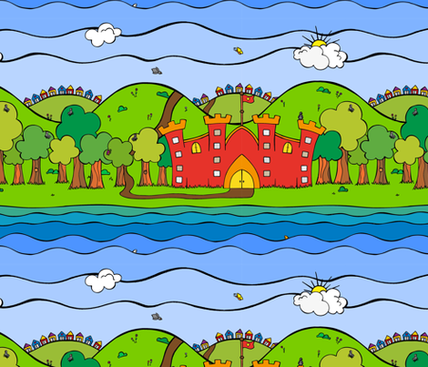 Knight castle with trees fabric by samvanvoorst on Spoonflower - custom fabric