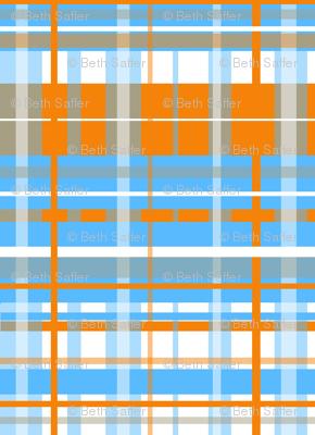 Plaid of Orange, Grey, Blue