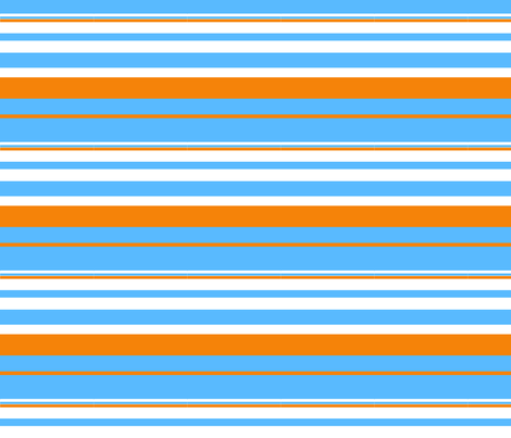 Blue and Orange Stripe fabric by bettieblue_designs on Spoonflower - custom fabric