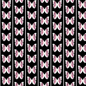 pink butterflies on black