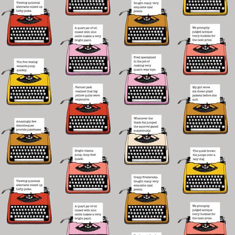Pangram Typewriters* (Silkscreen)    vintage retro typewriters text typography poetry geek office fabric by pennycandy on Spoonflower - custom fabric