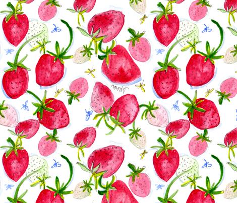 Strawberries Perfect fabric by shinyhappyart on Spoonflower - custom fabric