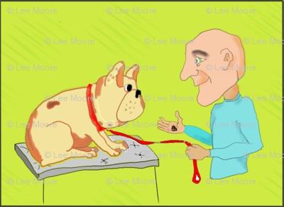 man and French Bulldog