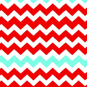 Turquoise and Red Chevron