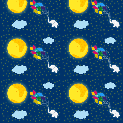 Moon Elephant Kite fabric by vickzter on Spoonflower - custom fabric