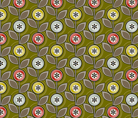 Footnote Flower (Green) || midcentury modern garden floral flowers leaves nature upholstery fabric by pennycandy on Spoonflower - custom fabric