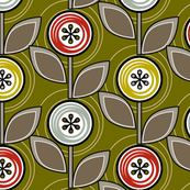 Footnote Flower (Green) || midcentury modern garden floral flowers leaves nature upholstery