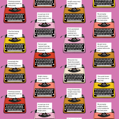 Pangram Typewriters* (Pink Liza) || vintage retro typewriters text typography poetry geek office fabric by pennycandy on Spoonflower - custom fabric