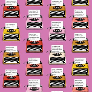 Pangram Typewriters* (Pink Liza) || vintage retro typewriters text typography poetry geek office