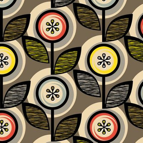 Footnote Flower (Gray) || midcentury modern garden floral flowers leaves nature upholstery