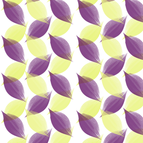 Leaf Strokes in Lemon and Plum fabric by bluenini on Spoonflower - custom fabric