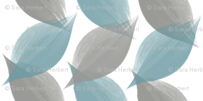 Leaf Strokes in Blue and Grey