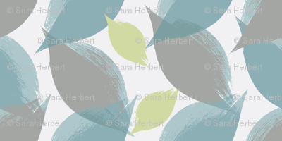 Leaf Strokes in Peacock, Grey, and Pea