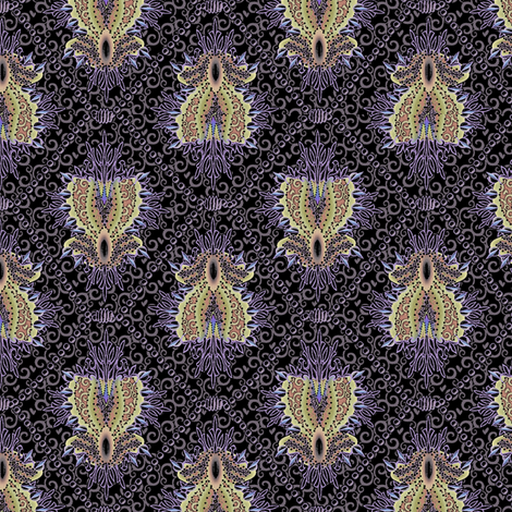 medallion and pearls -  black pearl fabric by glimmericks on Spoonflower - custom fabric