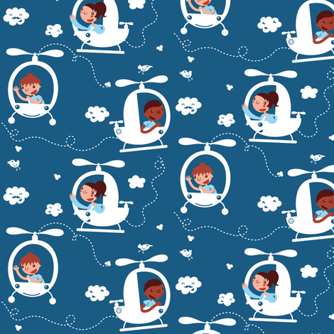 Helicopter, fly with me! fabric by verycherry on Spoonflower - custom fabric