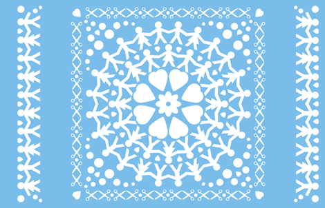 Blue Paper Chain Dolls Quilt fabric by pininkie on Spoonflower - custom fabric