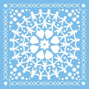 Blue Paper Chain Dolls Quilt