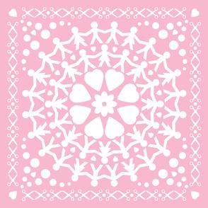 Pink Paper Chain Dolls Quilt