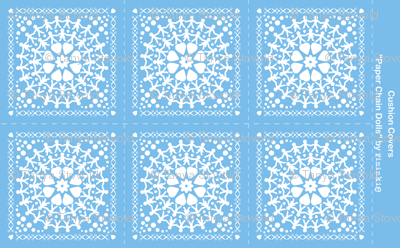 Blue Paper Chain Dolls Cushion Covers