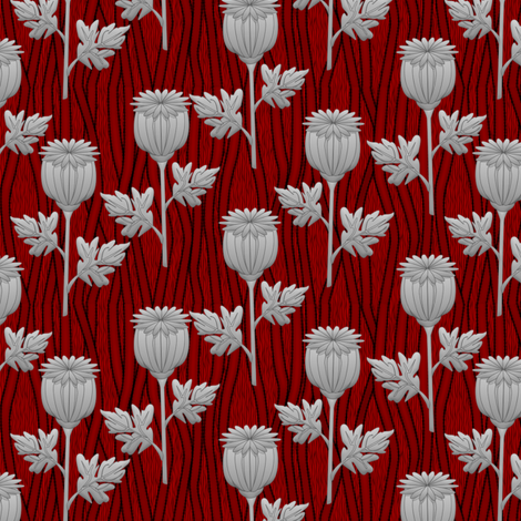 poppies red fabric by glimmericks on Spoonflower - custom fabric