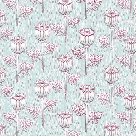 poppies  sky fabric by glimmericks on Spoonflower - custom fabric