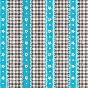 Grey-Turquoise Gingham