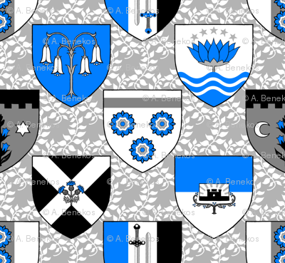 Heraldic Blossom Shields