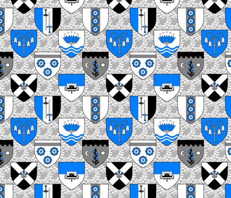 Heraldic Blossom Shields fabric by siya on Spoonflower - custom fabric