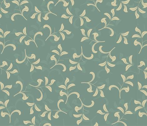 blue vintage leave pattern fabric by anastasiia-ku on Spoonflower - custom fabric