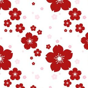 Sakura Falls in Red on White