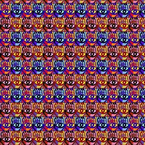 Pop Art  Mod Hamsa Evil Eye