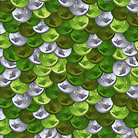 coins verde fabric by glimmericks on Spoonflower - custom fabric