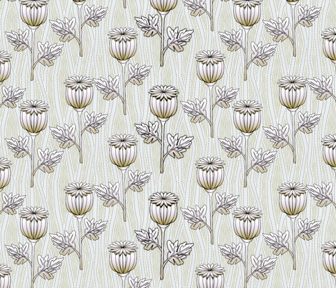 poppies frost big fabric by glimmericks on Spoonflower - custom fabric