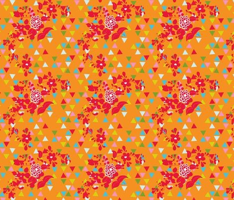 Sprigs and Triangles on Orange fabric by carinaenvoldsenharris on Spoonflower - custom fabric