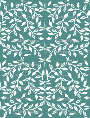 Leafy Field Arts & Crafts style fabric - white on dark-gray-bluegreen with dragonflies
