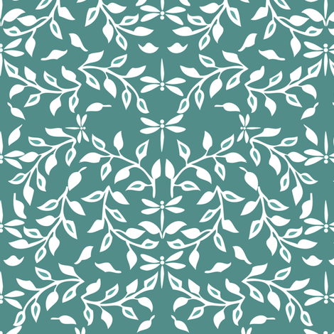 Leafy Field Arts & Crafts style fabric - white on dark-gray-bluegreen with dragonflies  fabric by mina on Spoonflower - custom fabric