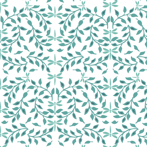 Leafy Field Arts & Crafts style fabric - bluegreen & white with dragonflies fabric by mina on Spoonflower - custom fabric